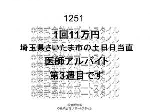 埼玉県 さいたま市 土日日当直 第3週目 1回11万円 医師アルバイト
