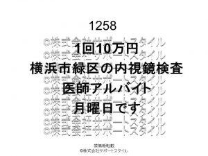 横浜市 緑区 内視鏡検査 1回10万円 月曜日 医師アルバイト