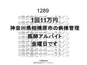 神奈川県相模原市病棟管理金曜日1回11万円医師アルバイト