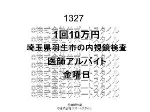 埼玉県 羽生市 内視鏡検査 金曜日 1回10万円 医師アルバイト