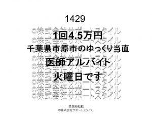 千葉県 市原市 ゆっくり当直 火曜日 1回4.5万円 医師アルバイト