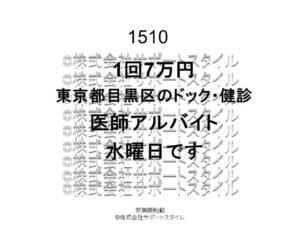 東京都 目黒区 ドック・健診 水曜日 1回7万円 医師アルバイト