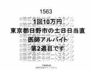 東京都 日野市 土日日当直 第2週目 1回10万円 医師アルバイト