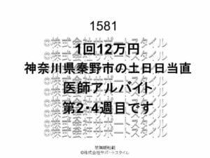 神奈川県 秦野市 土日日当直 1回12万円 医師アルバイト