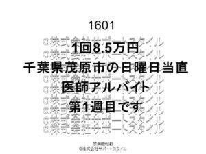 千葉県 茂原市 日曜日当直 第1週目 1回8.5万円 医師アルバイト