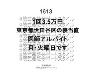 東京都 世田谷区 寝当直 月・火曜日 1回3.5万円 医師アルバイト